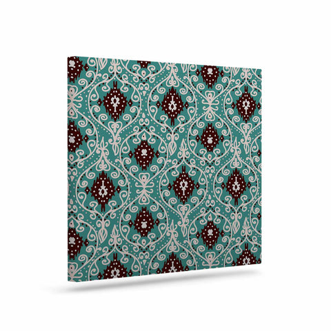"Nika Martinez ""Bohemian Paisley Pattern"" Green Brown Digital Illustration Canvas Art"