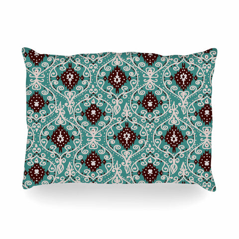 "Nika Martinez ""Bohemian Paisley Pattern"" Green Brown Digital Illustration Oblong Pillow"