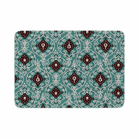 "Nika Martinez ""Bohemian Paisley Pattern"" Green Brown Digital Illustration Memory Foam Bath Mat"