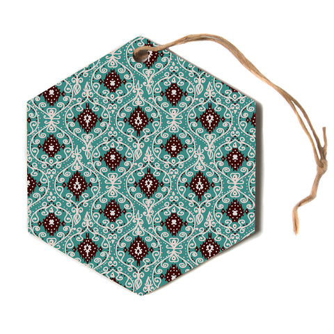 "Nika Martinez ""BOHEMIAN PAISLEY PATTERN""  Hexagon Holiday Ornament"