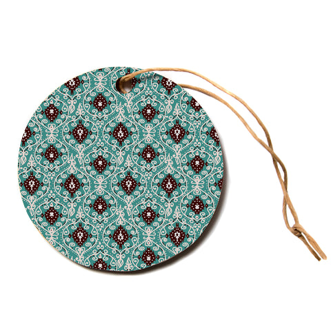 "Nika Martinez ""BOHEMIAN PAISLEY PATTERN""  Circle Holiday Ornament"