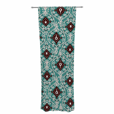 "Nika Martinez ""Bohemian Paisley Pattern"" Green Brown Digital Illustration Decorative Sheer Curtain"