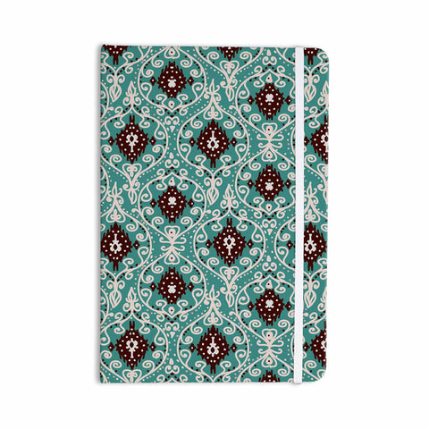 "Nika Martinez ""Bohemian Paisley Pattern"" Green Brown Digital Illustration Everything Notebook - KESS InHouse  - 1"