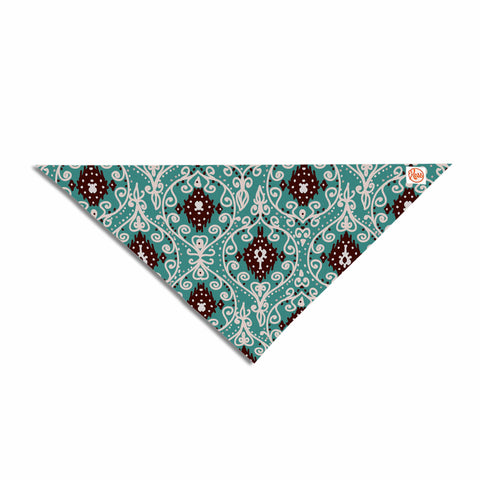 "Nika Martinez ""Bohemian Paisley Pattern"" Green Brown Digital Illustration Pet Bandana"