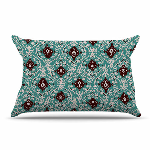 "Nika Martinez ""Bohemian Paisley Pattern"" Green Brown Digital Illustration Pillow Sham"