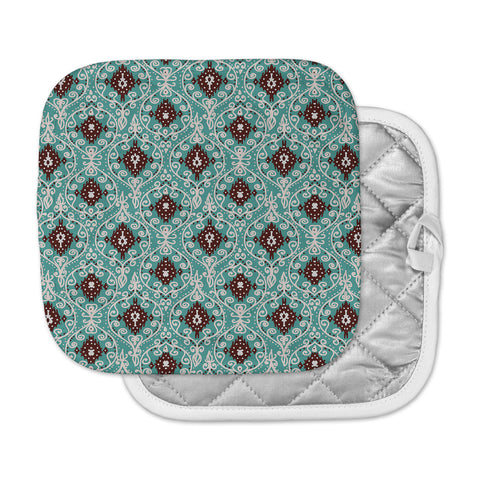 "Nika Martinez ""Bohemian Paisley Pattern"" Green Brown Digital Illustration Pot Holder"