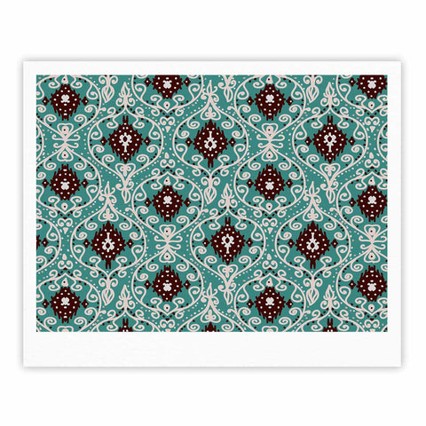 "Nika Martinez ""Bohemian Paisley Pattern"" Green Brown Digital Illustration Fine Art Gallery Print"