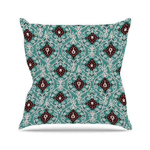 "Nika Martinez ""Bohemian Paisley Pattern"" Green Brown Digital Illustration Outdoor Throw Pillow"