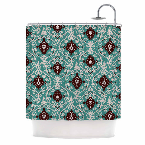 "Nika Martinez ""Bohemian Paisley Pattern"" Green Brown Digital Illustration Shower Curtain"