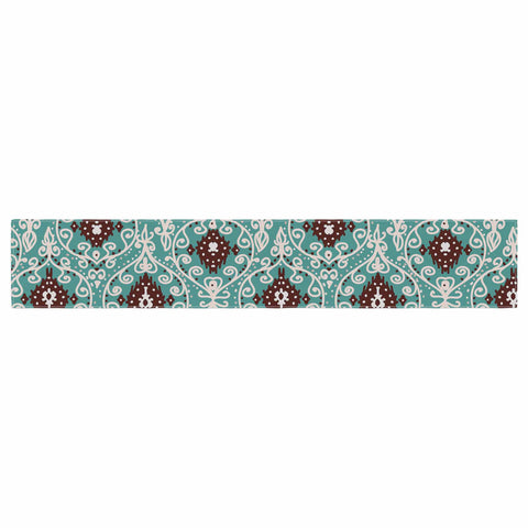 "Nika Martinez ""Bohemian Paisley Pattern"" Green Brown Digital Illustration Table Runner"