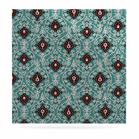 "Nika Martinez ""Bohemian Paisley Pattern"" Green Brown Digital Illustration Luxe Square Panel"