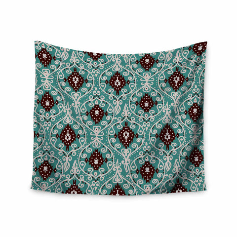 "Nika Martinez ""Bohemian Paisley Pattern"" Green Brown Digital Illustration Wall Tapestry - KESS InHouse  - 1"