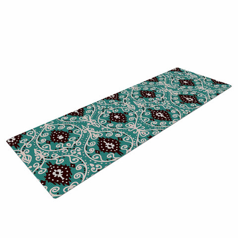 "Nika Martinez ""Bohemian Paisley Pattern"" Green Brown Digital Illustration Yoga Mat"