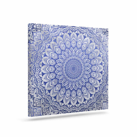 "Nika Martinez ""BOHEMIAN VIBES MANDALA IN BLUE"" Blue White Arabesque Abstract Illustration Art Canvas"