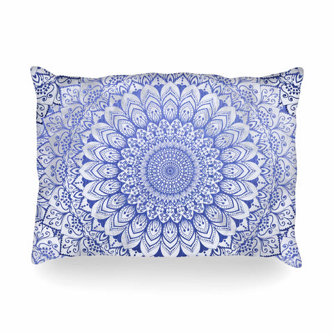 "Nika Martinez ""BOHEMIAN VIBES MANDALA IN BLUE"" Blue White Arabesque Abstract Illustration Oblong Pillow"
