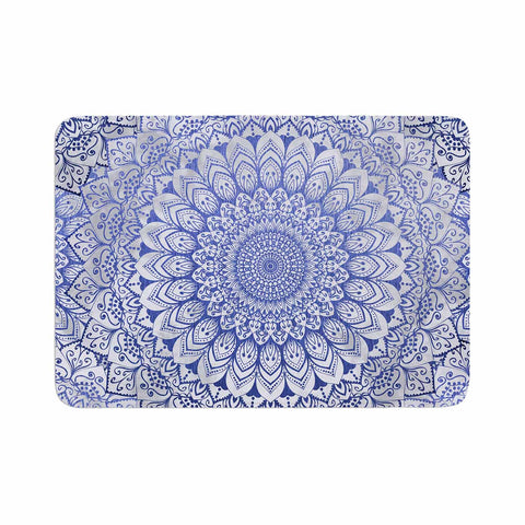 "Nika Martinez ""BOHEMIAN VIBES MANDALA IN BLUE"" Blue White Arabesque Abstract Illustration Memory Foam Bath Mat"