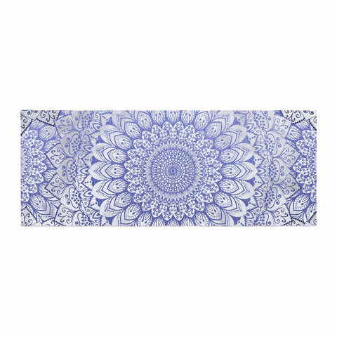 "Nika Martinez ""BOHEMIAN VIBES MANDALA IN BLUE"" Blue White Arabesque Abstract Illustration Bed Runner"