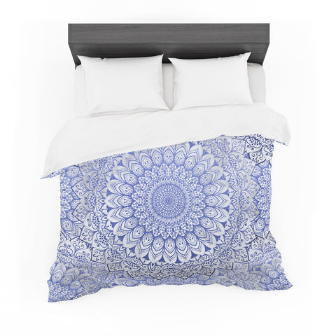 "Nika Martinez ""BOHEMIAN VIBES MANDALA IN BLUE"" Blue White Arabesque Abstract Illustration Featherweight Duvet Cover"