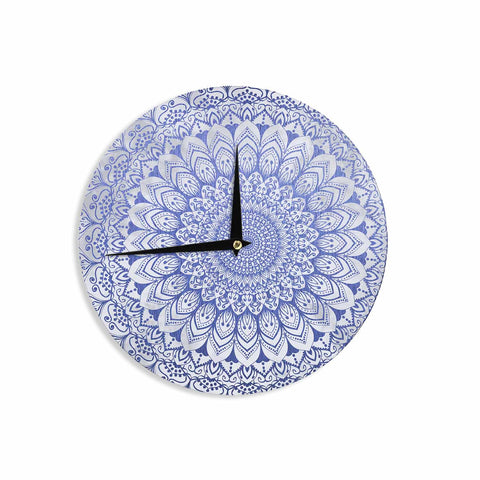 "Nika Martinez ""BOHEMIAN VIBES MANDALA IN BLUE"" Blue White Arabesque Abstract Illustration Wall Clock"