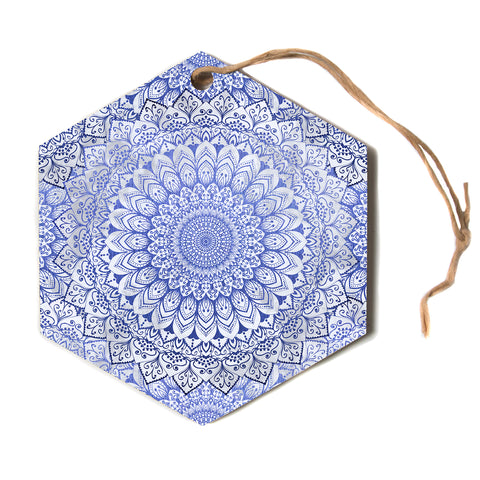 "Nika Martinez ""BOHEMIAN VIBES MANDALA IN BLUE"" Blue White Arabesque Abstract Illustration Hexagon Holiday Ornament"