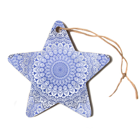 "Nika Martinez ""BOHEMIAN VIBES MANDALA IN BLUE"" Blue White Arabesque Abstract Illustration Star Holiday Ornament"