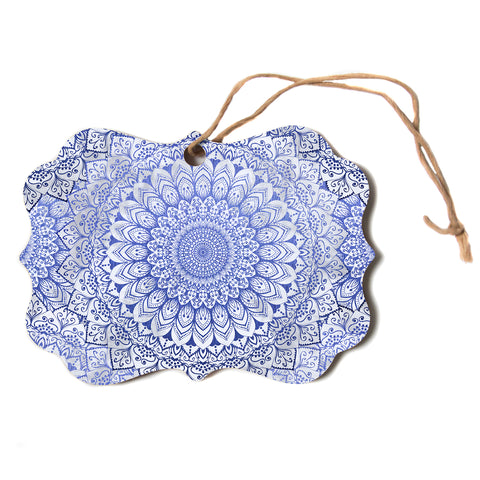 "Nika Martinez ""BOHEMIAN VIBES MANDALA IN BLUE"" Blue White Arabesque Abstract Illustration Scroll Holiday Ornament"