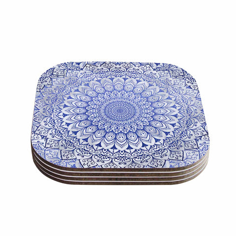 "Nika Martinez ""BOHEMIAN VIBES MANDALA IN BLUE"" Blue White Arabesque Abstract Illustration Coasters (Set of 4)"