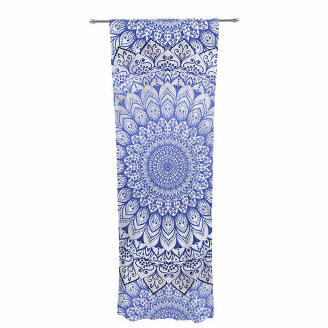 "Nika Martinez ""BOHEMIAN VIBES MANDALA IN BLUE"" Blue White Arabesque Abstract Illustration Decorative Sheer Curtain"