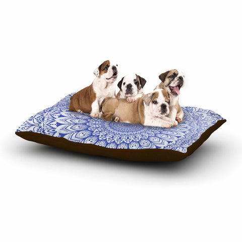 "Nika Martinez ""BOHEMIAN VIBES MANDALA IN BLUE"" Blue White Arabesque Abstract Illustration Dog Bed"