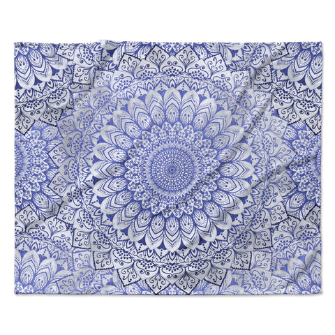 "Nika Martinez ""BOHEMIAN VIBES MANDALA IN BLUE"" Blue White Arabesque Abstract Illustration Fleece Throw Blanket"
