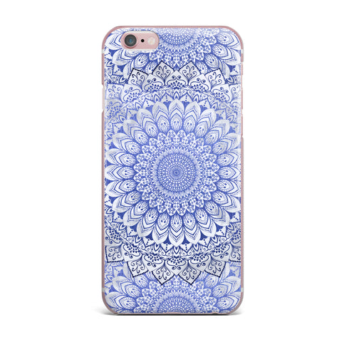 "Nika Martinez ""BOHEMIAN VIBES MANDALA IN BLUE"" Blue White Arabesque Abstract Illustration iPhone Case"