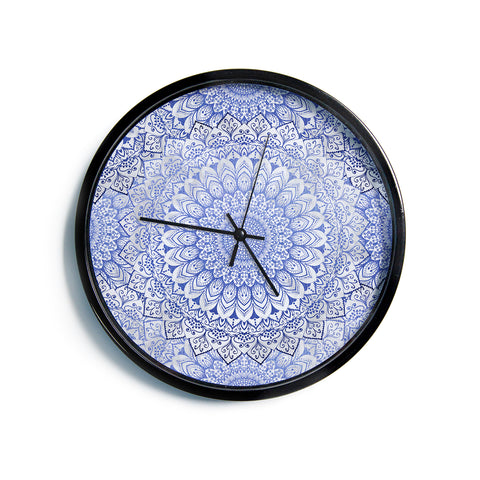 "Nika Martinez ""BOHEMIAN VIBES MANDALA IN BLUE"" Blue White Arabesque Abstract Illustration Modern Wall Clock"