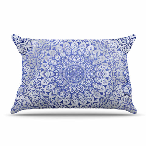 "Nika Martinez ""BOHEMIAN VIBES MANDALA IN BLUE"" Blue White Arabesque Abstract Illustration Pillow Sham"
