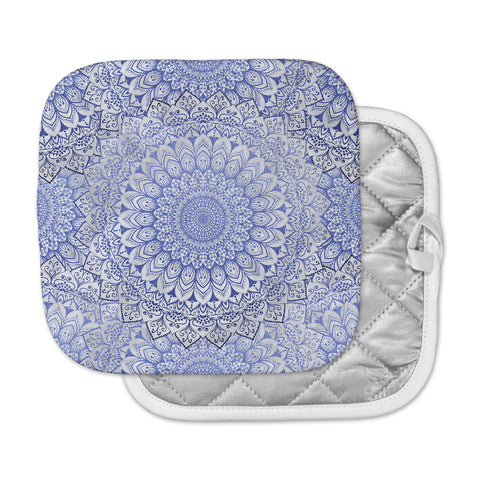 "Nika Martinez ""BOHEMIAN VIBES MANDALA IN BLUE"" Blue White Arabesque Abstract Illustration Pot Holder"