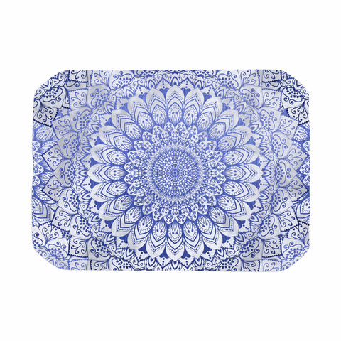 "Nika Martinez ""BOHEMIAN VIBES MANDALA IN BLUE"" Blue White Arabesque Abstract Illustration Place Mat"