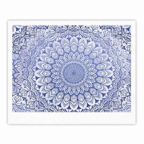 "Nika Martinez ""BOHEMIAN VIBES MANDALA IN BLUE"" Blue White Arabesque Abstract Illustration Fine Art Gallery Print"