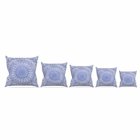 "Nika Martinez ""BOHEMIAN VIBES MANDALA IN BLUE"" Blue White Arabesque Abstract Illustration Outdoor Throw Pillow"