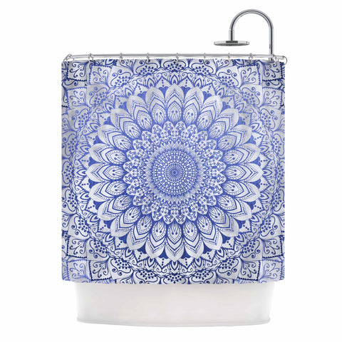 "Nika Martinez ""BOHEMIAN VIBES MANDALA IN BLUE"" Blue White Arabesque Abstract Illustration Shower Curtain"