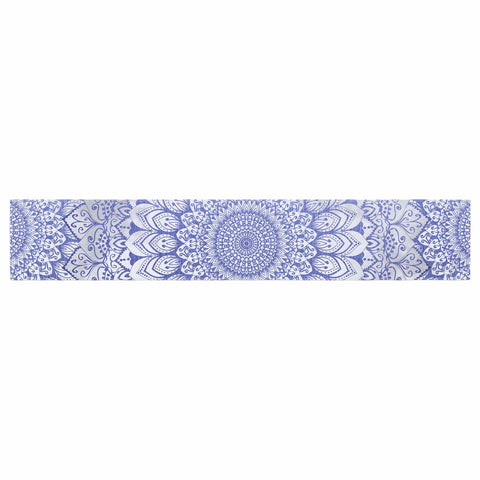 "Nika Martinez ""BOHEMIAN VIBES MANDALA IN BLUE"" Blue White Arabesque Abstract Illustration Table Runner"