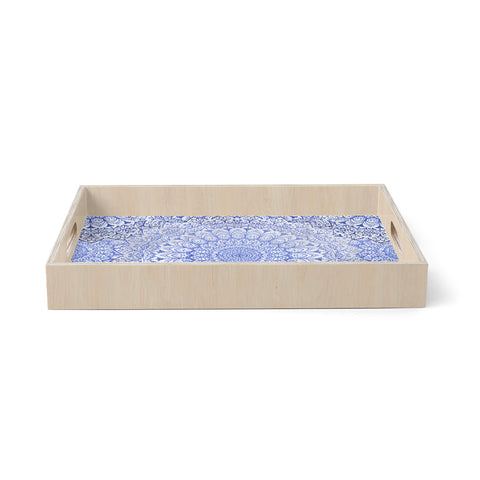 "Nika Martinez ""BOHEMIAN VIBES MANDALA IN BLUE"" Blue White Arabesque Abstract Illustration Birchwood Tray"