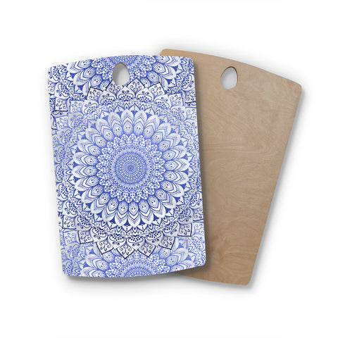 "Nika Martinez ""BOHEMIAN VIBES MANDALA IN BLUE"" Blue White Arabesque Abstract Illustration Rectangle Wooden Cutting Board"