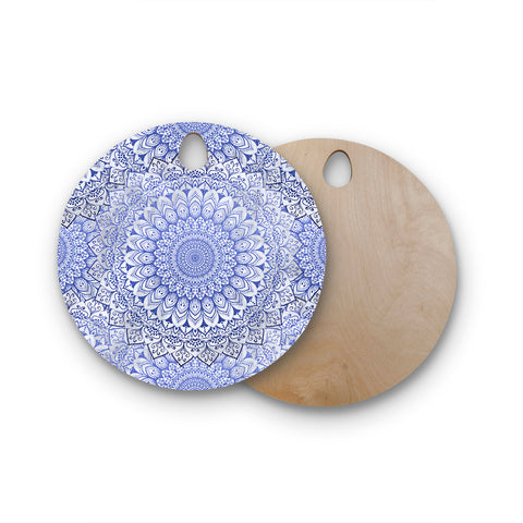 "Nika Martinez ""BOHEMIAN VIBES MANDALA IN BLUE"" Blue White Arabesque Abstract Illustration Round Wooden Cutting Board"