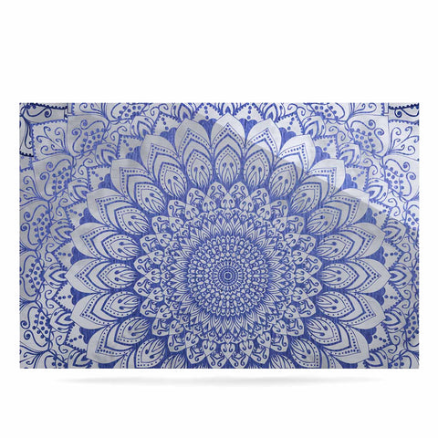 "Nika Martinez ""BOHEMIAN VIBES MANDALA IN BLUE"" Blue White Arabesque Abstract Illustration Luxe Rectangle Panel"