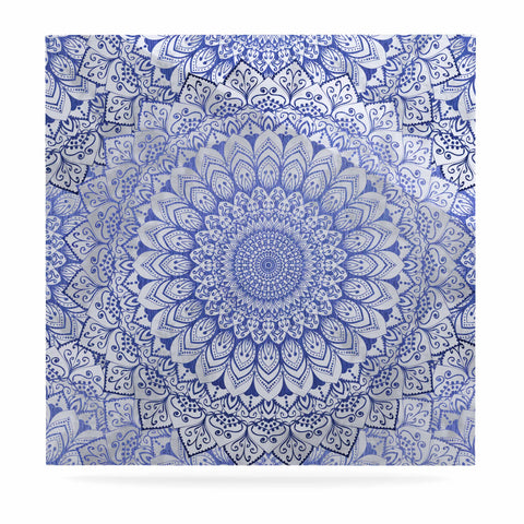"Nika Martinez ""BOHEMIAN VIBES MANDALA IN BLUE"" Blue White Arabesque Abstract Illustration Luxe Square Panel"
