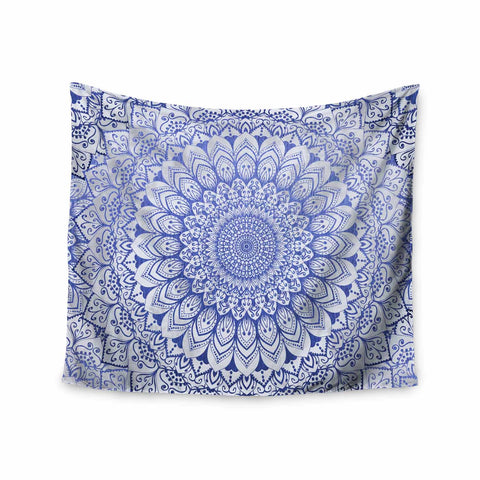"Nika Martinez ""BOHEMIAN VIBES MANDALA IN BLUE"" Blue White Arabesque Abstract Illustration Wall Tapestry"