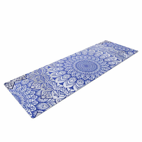 "Nika Martinez ""BOHEMIAN VIBES MANDALA IN BLUE"" Blue White Arabesque Abstract Illustration Yoga Mat"