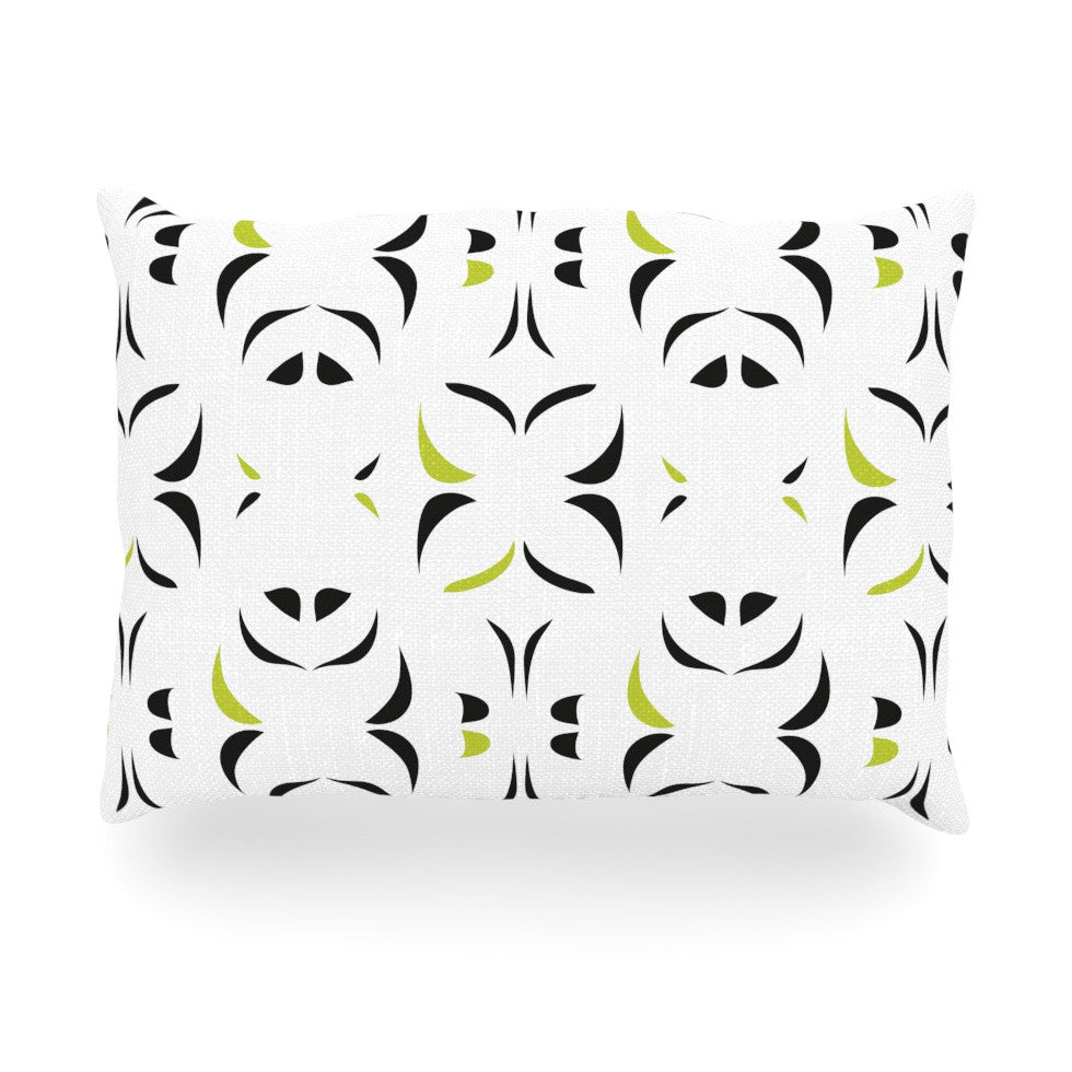 "Miranda Mol ""Retro Green Snow Storm"" Oblong Pillow - KESS InHouse"