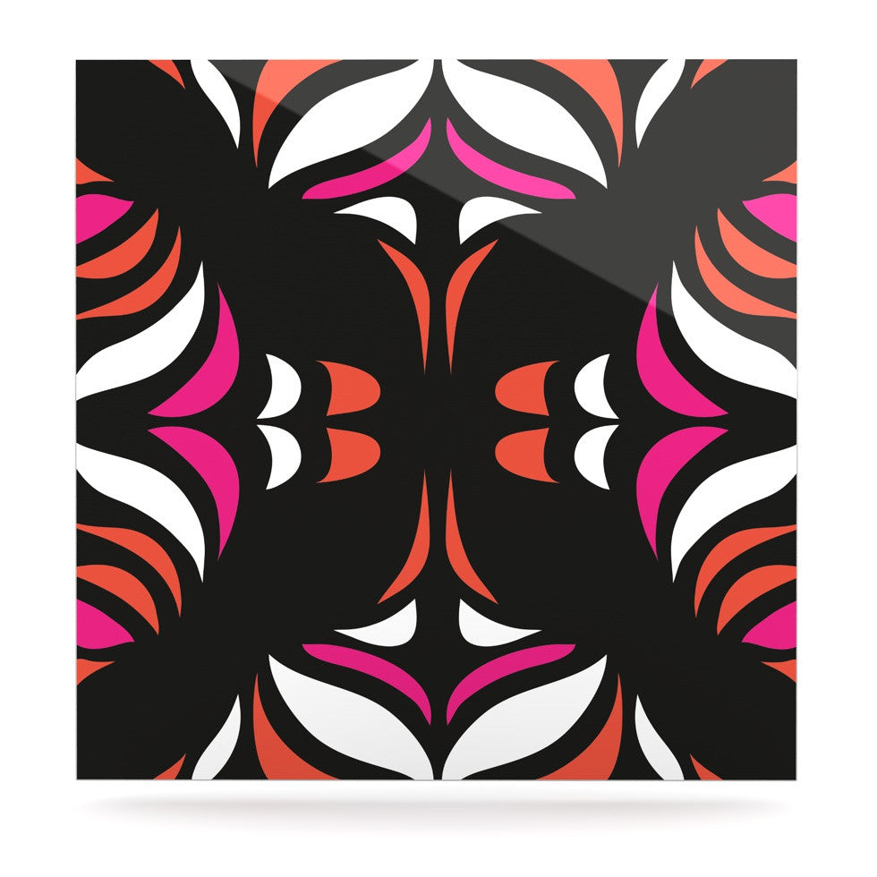 "Miranda Mol ""Magenta Orange Hawaiian Retro"" Luxe Square Panel - KESS InHouse  - 1"