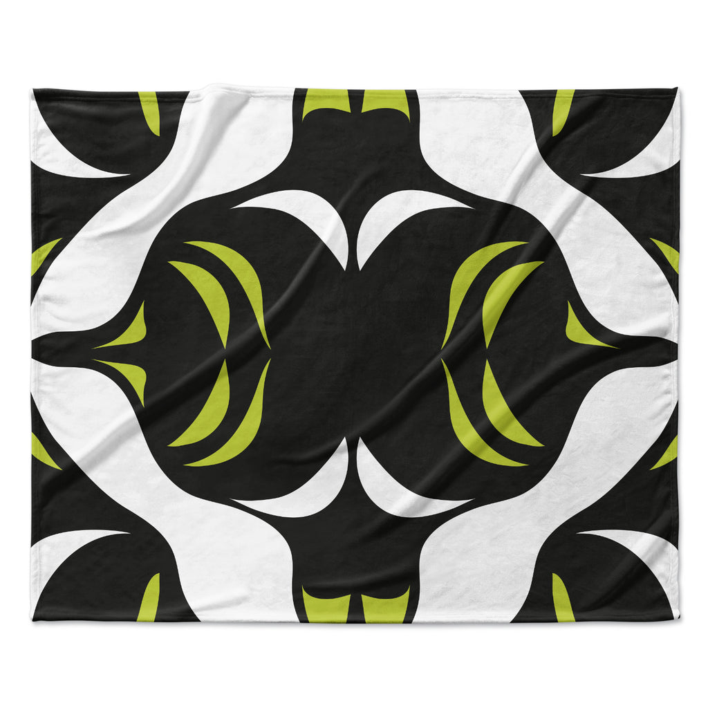 "Miranda Mol ""Green White Jaws"" Fleece Throw Blanket"