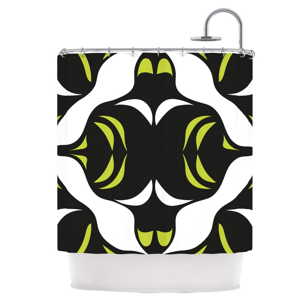 "Miranda Mol ""Green White Jaws"" Shower Curtain - KESS InHouse"